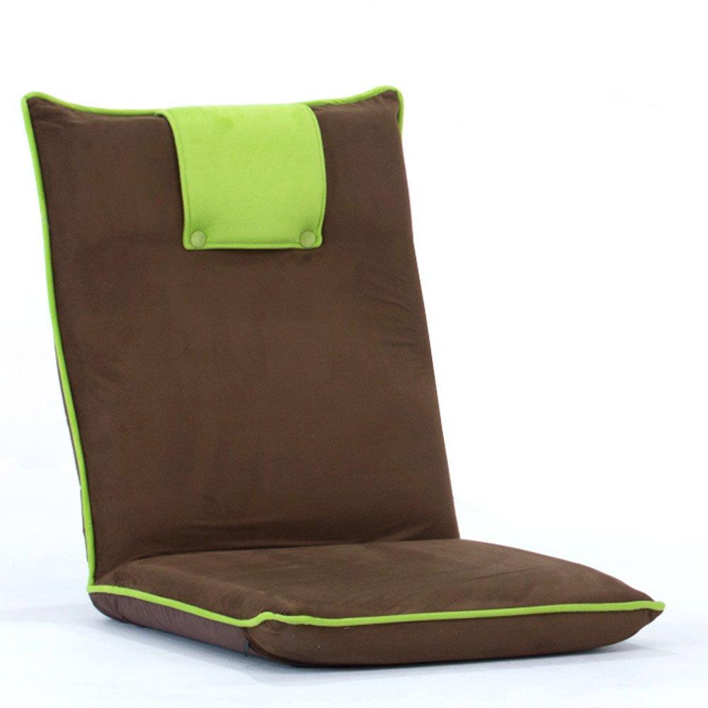 QFFL 折り畳み式ベッドベイウィンドウ背もたれチェア/リムーバブルソフト快適なソファチェア/リビングルーム省スペースカジュアルフロアチェア(3色オプション) アウトドアスツール (色 : Green, サイズ さいず : A) B07F388PV3  Green A