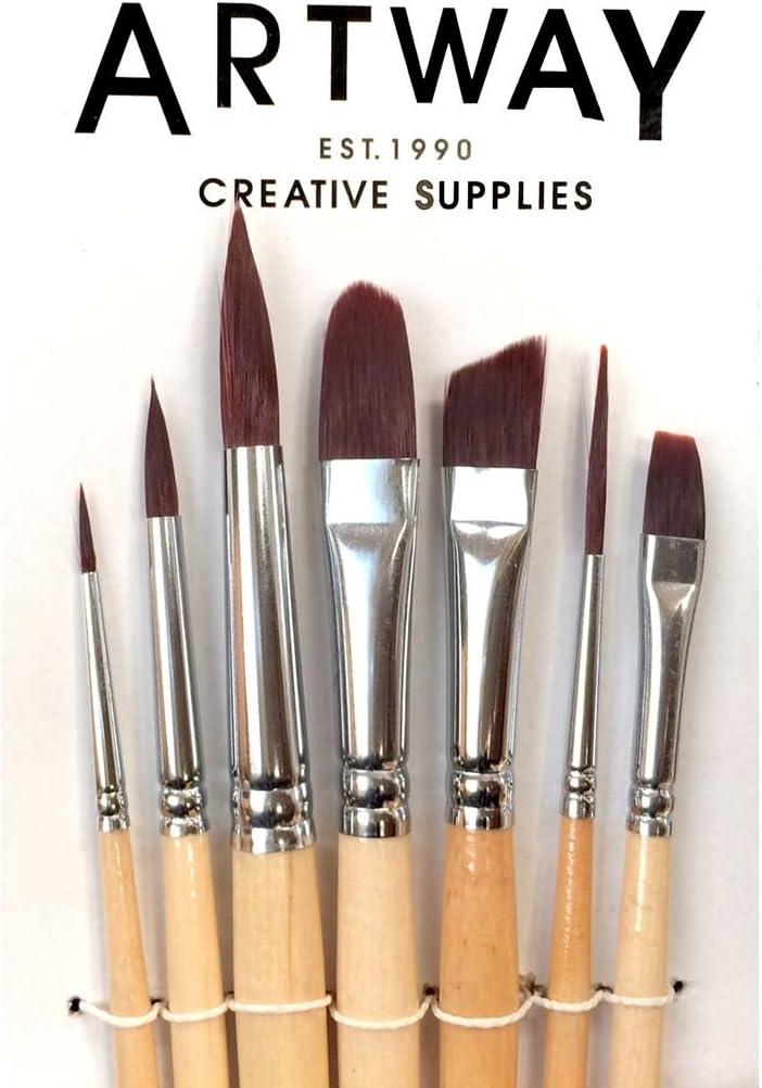 Set di pennelli da pittura e per filettare Confezione da 7 con: pennello tondo lingua di gatto da stesura piatto 12 pezzi Artway