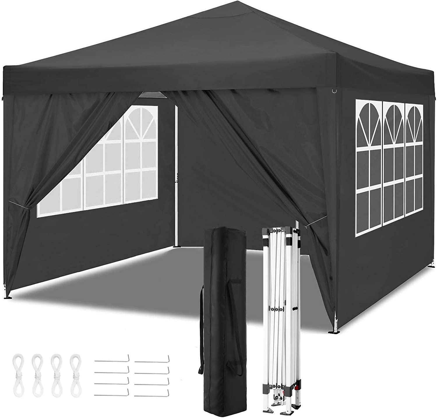 TOOLUCKCANOPY 10x10ft Pop up Canopy Tent Commercial Instant Shelter Heavy Duty Canopy with 4 Sun Wall, Carry Bag, Stakes and Ropes (10x10ft with 4 Sun Walls, Black)