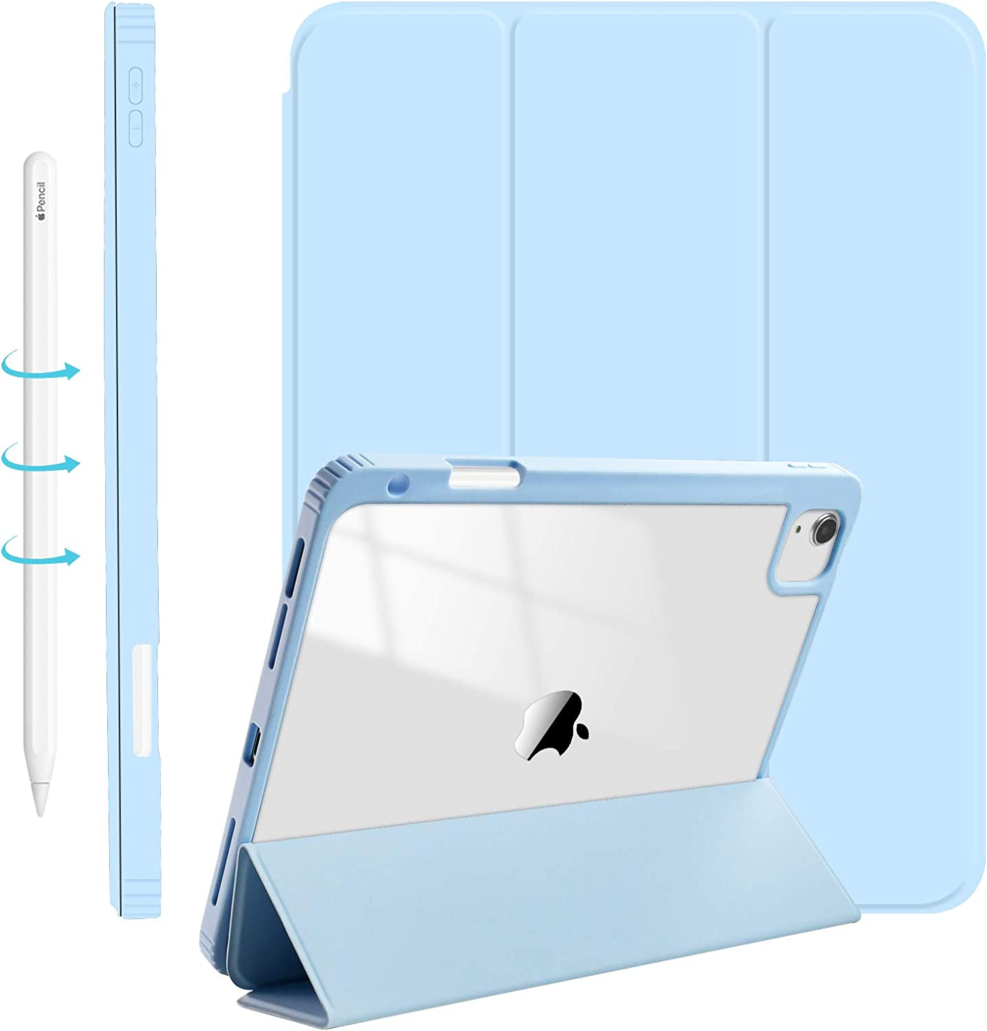 Sevrok Clear Case Compatible with iPad Air 4th Generation, iPad Pro 11 (2021 Version) with Pencil Holder [Support Touch ID and Apple 2nd Gen Pencil Charging / Pair] Trifold Stand Smart - Sky Blue
