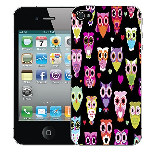 Mobile Case Mate iPhone 4s Silicone Coque couverture case cover Pare-chocs + STYLET - Sophisticated Owl pattern (SILICON)