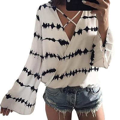 chemise en mousseline de soie, Moonuy Blouse T-shirt Été Femme Manches Longues Casual Col V Mousseline de Soie