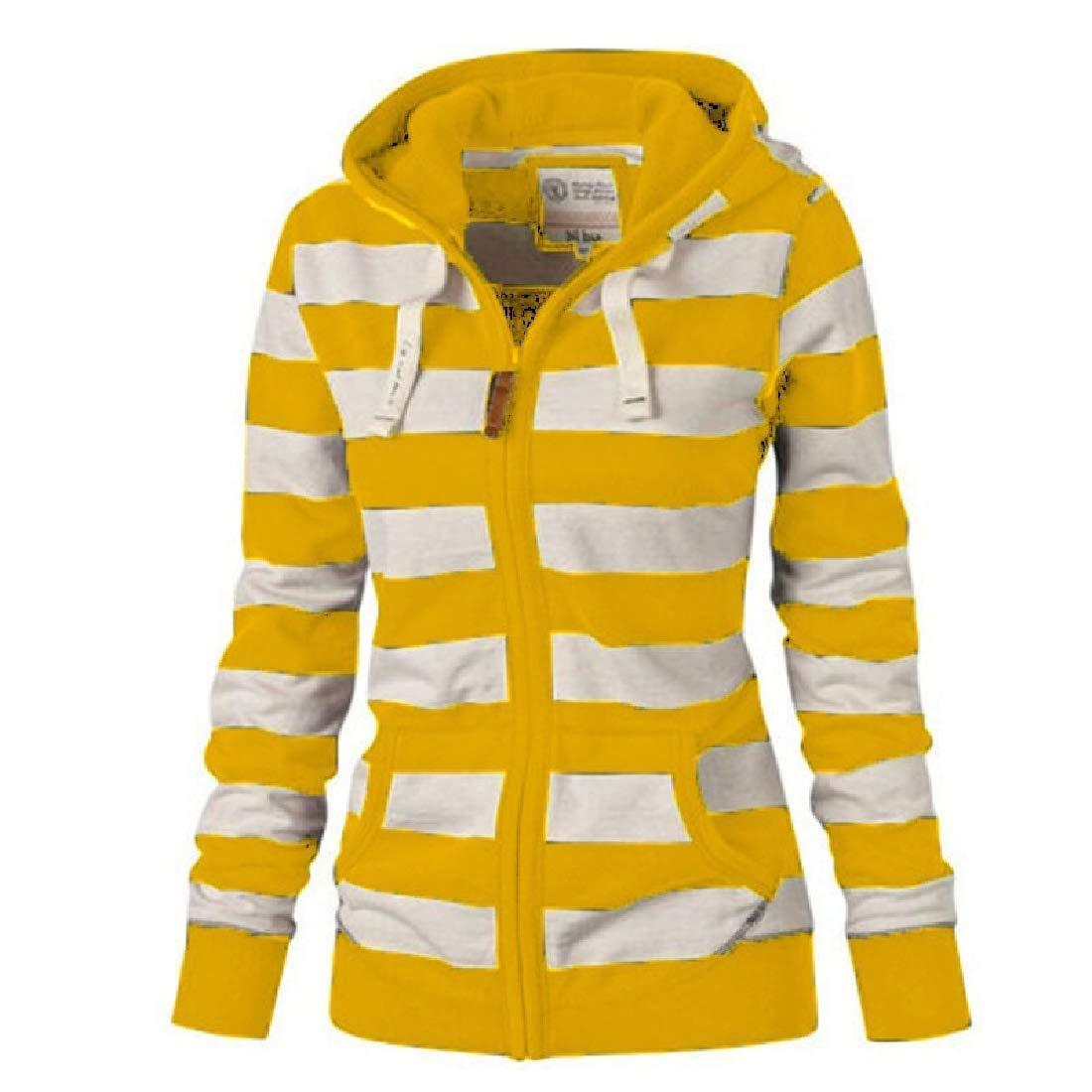 YYear Women Stripe Plus Size Fall Winter Hooded Sweatshirt Jacket Coat