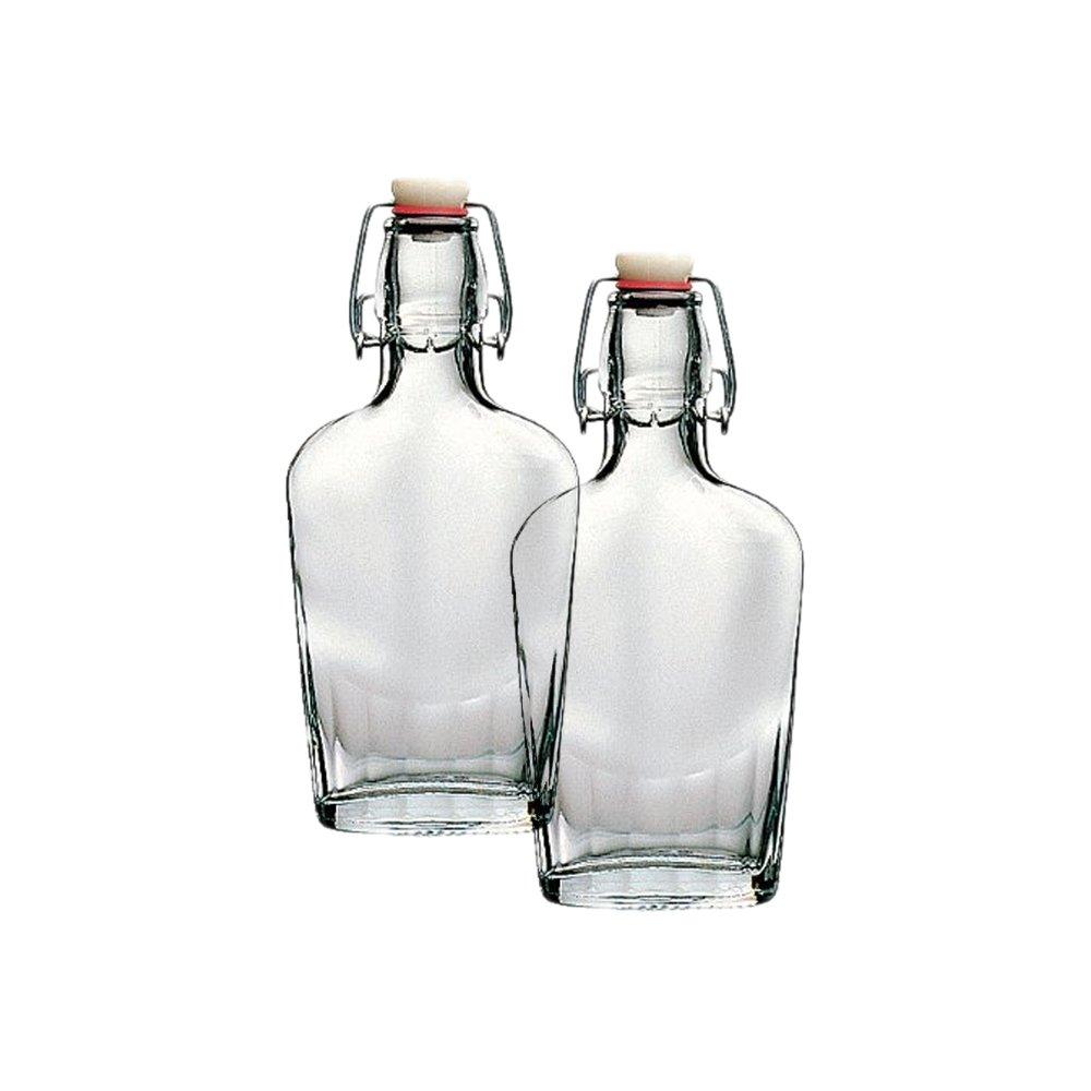 Bormioli Rocco Fiaschetta Glass 8.5 Ounce Pocket Flask, Set of 2