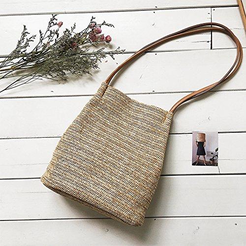 BAGEHUA Handgewebte Stroh Strand Strand Strand Tasche Tasche Bucket Bag Handtasche Khaki B0761S88TY Taschen Nutzen Sie Materialien voll aus cac027