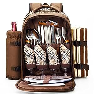 Al aire libre mochila de picnic para 4personas con compartimento de refrigeración, desmontable botella/vino soporte, manta de forro polar, platos y cubiertos Set
