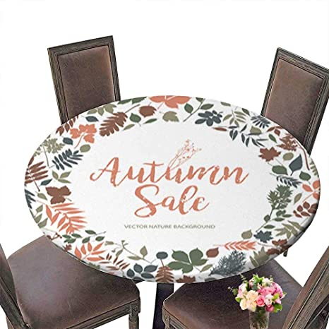Amazon Com Polyester Round Tablecloth Table Cover Text Autumn