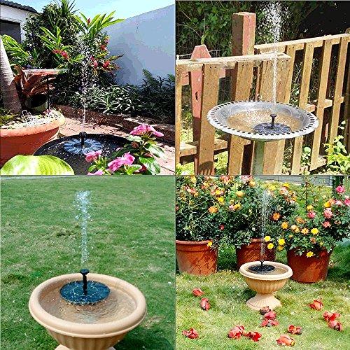 Portable Waterfall Fountain: Solar Powered Fountain Bird Bath Pump Portable Free