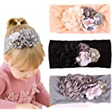 Baby Girl's Beautiful Headbands with Chiffon Lotus Flower Soft Nylon Headwrap,Head Wraps for Newborn,Toddler and Kids