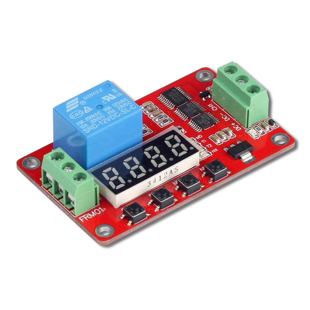 UCTRONICS DC 12V Programmable Multifunction Time Delay Relay Module with Segment LEDs Display & H/L Level Trigger for Smart Home, Automatic Control