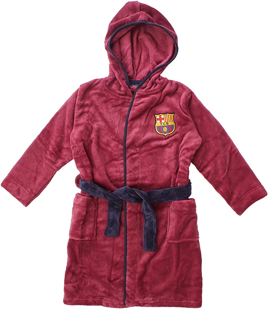 Blue Boys Official Barcelona FCB Hooded Fleece Dressing Gown Bathrobe 7-8 Years