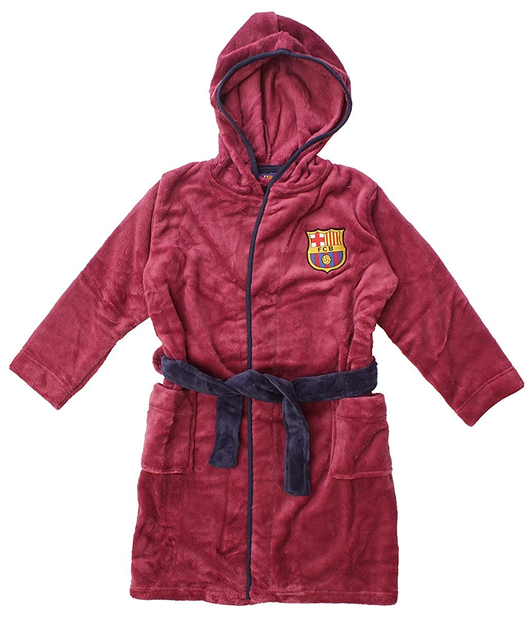 Barcelona FCB Boys Official Hooded Fleece Dressing Gown Bathrobe Sizes from 3 to 12 Years