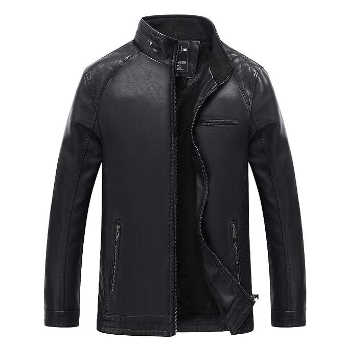 SuperSU Herren Lederjacke Leichte Basic Jacke aus weichem Kunstpelz Herren Jacke Kunst Lederjacke Bikerjacke Biker Übergangsjacke Lederjacke Echtleder