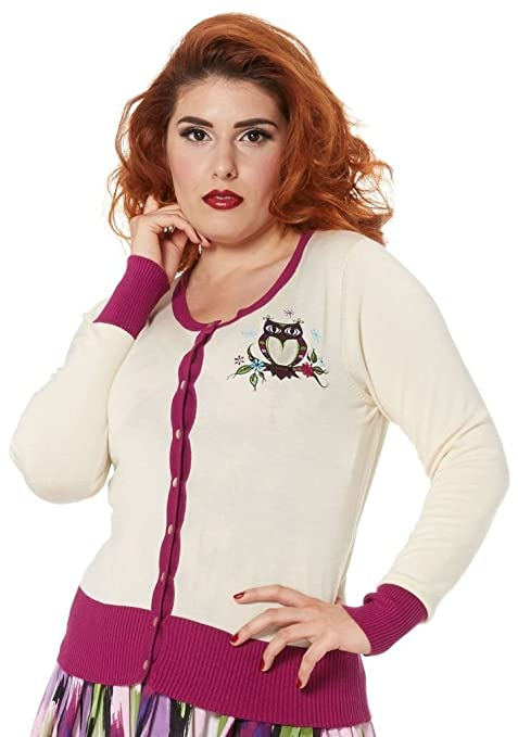 1950s Style Sweaters, Crop Cardigans, Twin Sets Retro Owl Cardigan Beige                               $44.99 AT vintagedancer.com