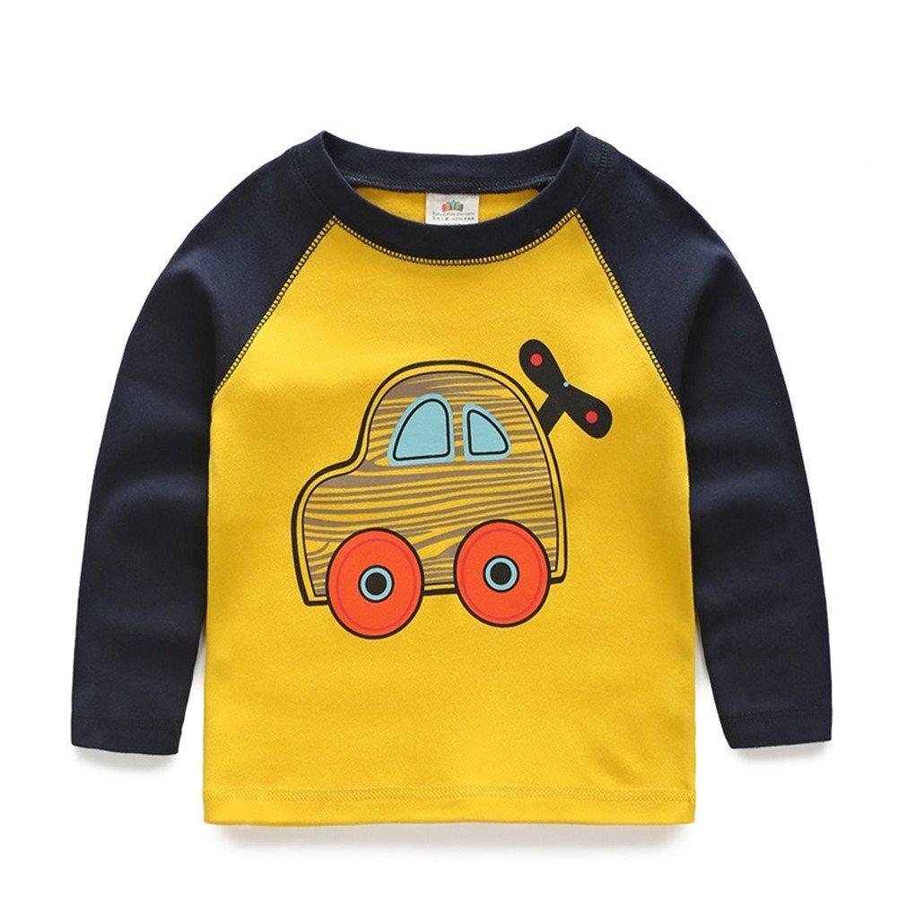Mud Kingdom Boys Vehicle Print Long Sleeve Cotton T-Shirts