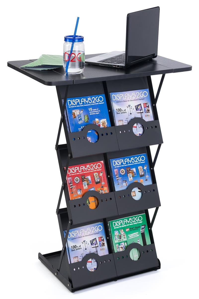 Displays2go 40'' Tall Portable Counter, 6 Magazine Pockets, Collapsible, Carrying Case, Black (TDCBRBKBK)