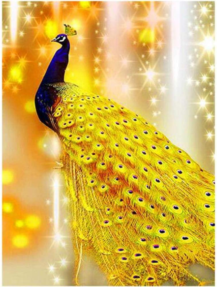 GGLLBL Diamante sin Marco Mosaico Animal Diamante Pintura Piedra Cuadrada Amarillo Pavo Real Imagen Hecha a Mano con Diamantes de imitación 50x70cm