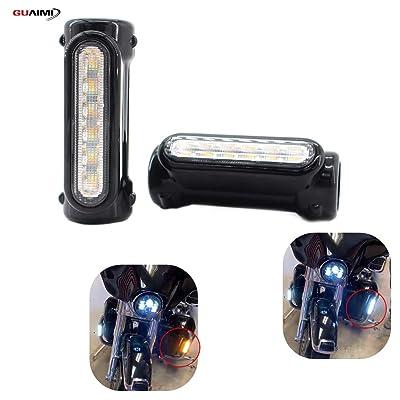 "GUAIMI Motorcycle Highway Bar Lights Smoke Lens Switchback Driving Lights Fits 1-1/4"" Highway/Crash Bars for Harley Davidson Victory Bikes-Black: Automotive"