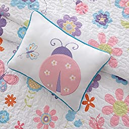 Mi Zone Kids Lovely Farrah Fluttering Butterflies, Ladybugs, Flowers Quilts Full Coverlet and Sheet Set for Girls (8 Piece in a Bag)