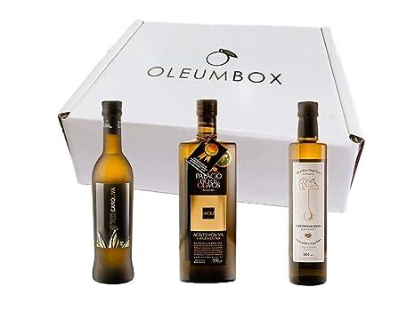 Oleumbox Aceite de Oliva Virgen Extra Estuche Regalo Pack Selección Premium (Arbequina, Picual y Coupage de Picual, Picuda, Hojiblanca) 3 Botellas 500 ...