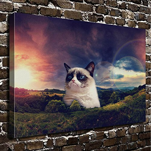 COLORSFORU Wall Art Painting Grumpy Cat Prints On Canvas The