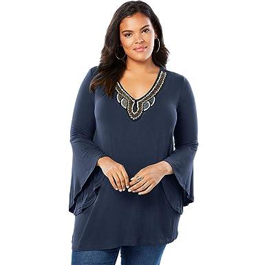 17ca69c719f Roamans Women s Plus Size Embellished Drape Tunic at Amazon Women s  Clothing store