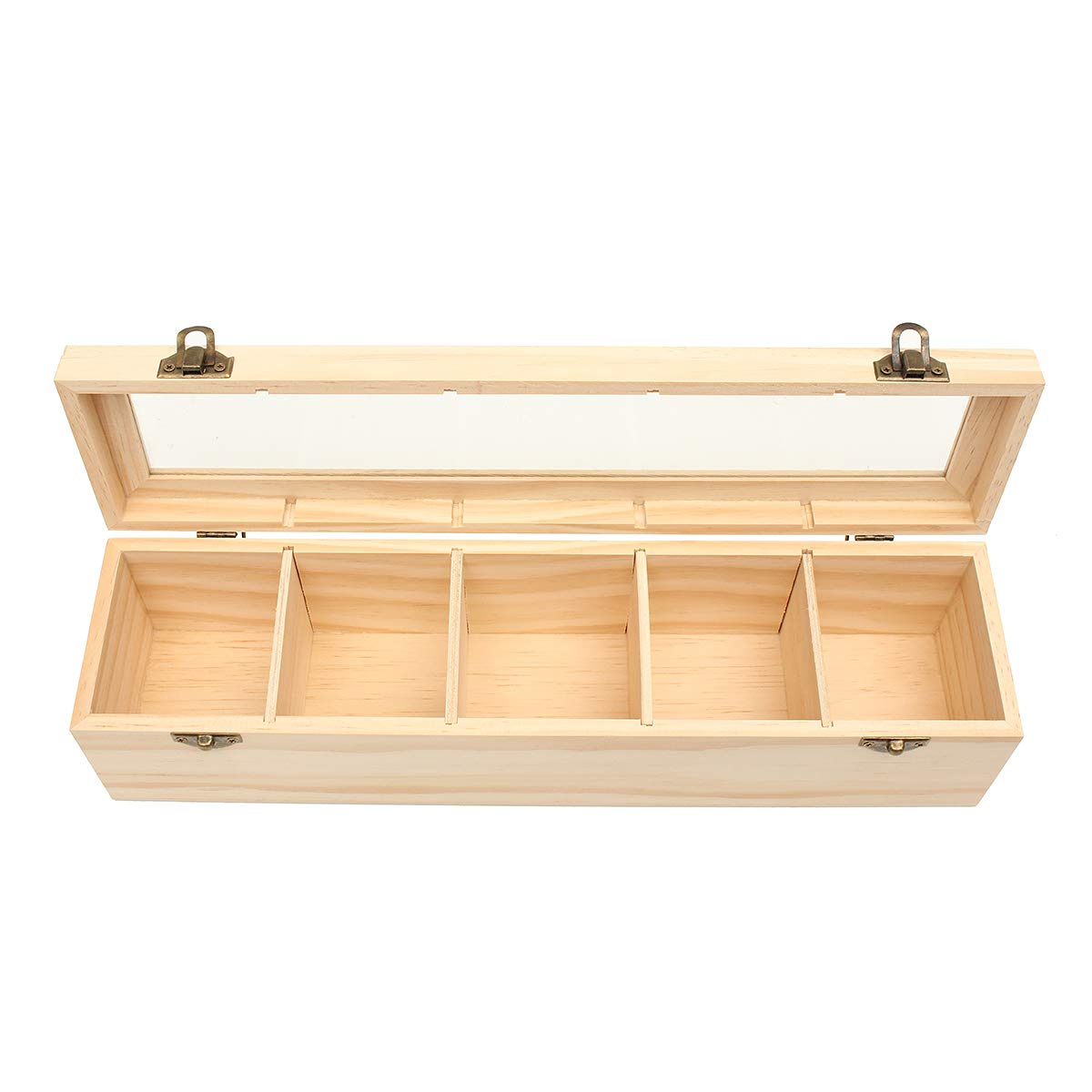 WCHAOEN 5 Compartments Plain Wooden Tea Box Bag Caddy Storage Display Container With Glass Lid Accessories Tool