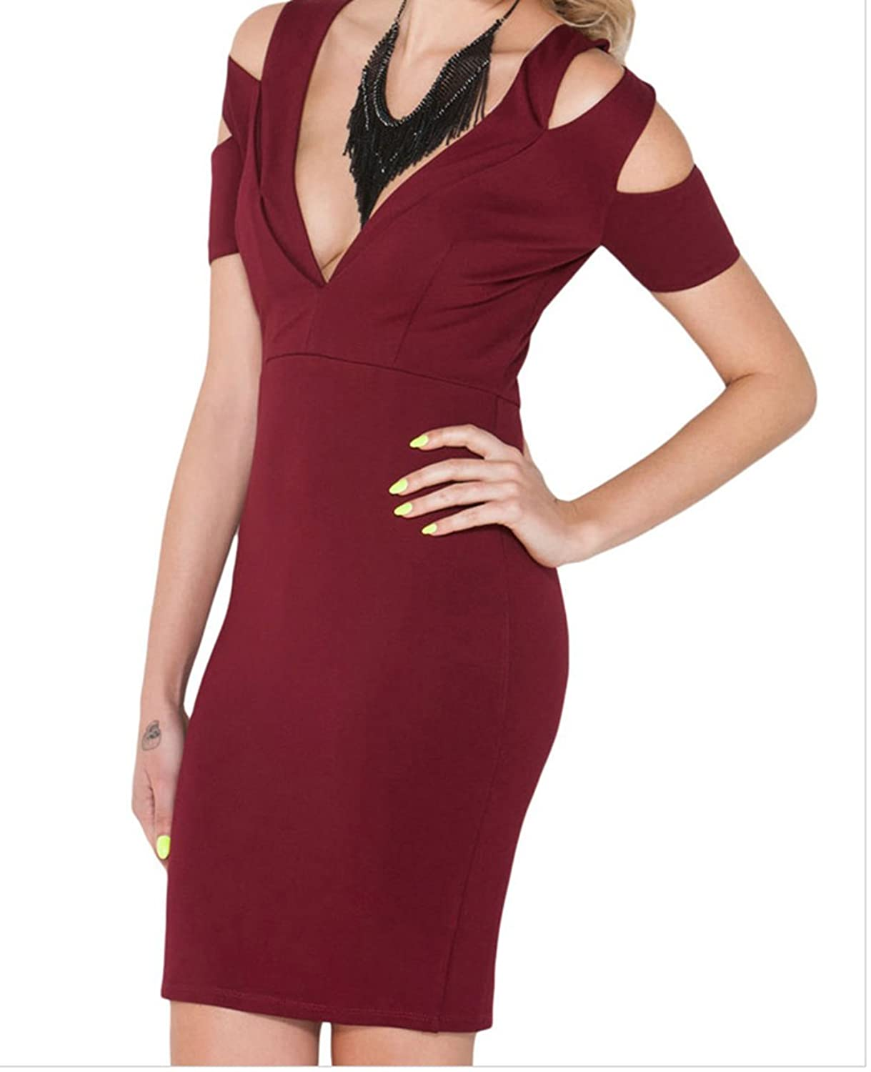 YeeATZ Knockout Cut-out Bare Shoulder Bodycon Dress