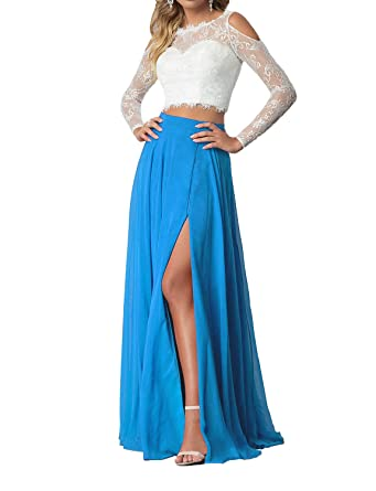 Lily Wedding Womens 2 Piece Prom Dresses 2018 Long Sleeve Evening Formal Gowns With Side Slit