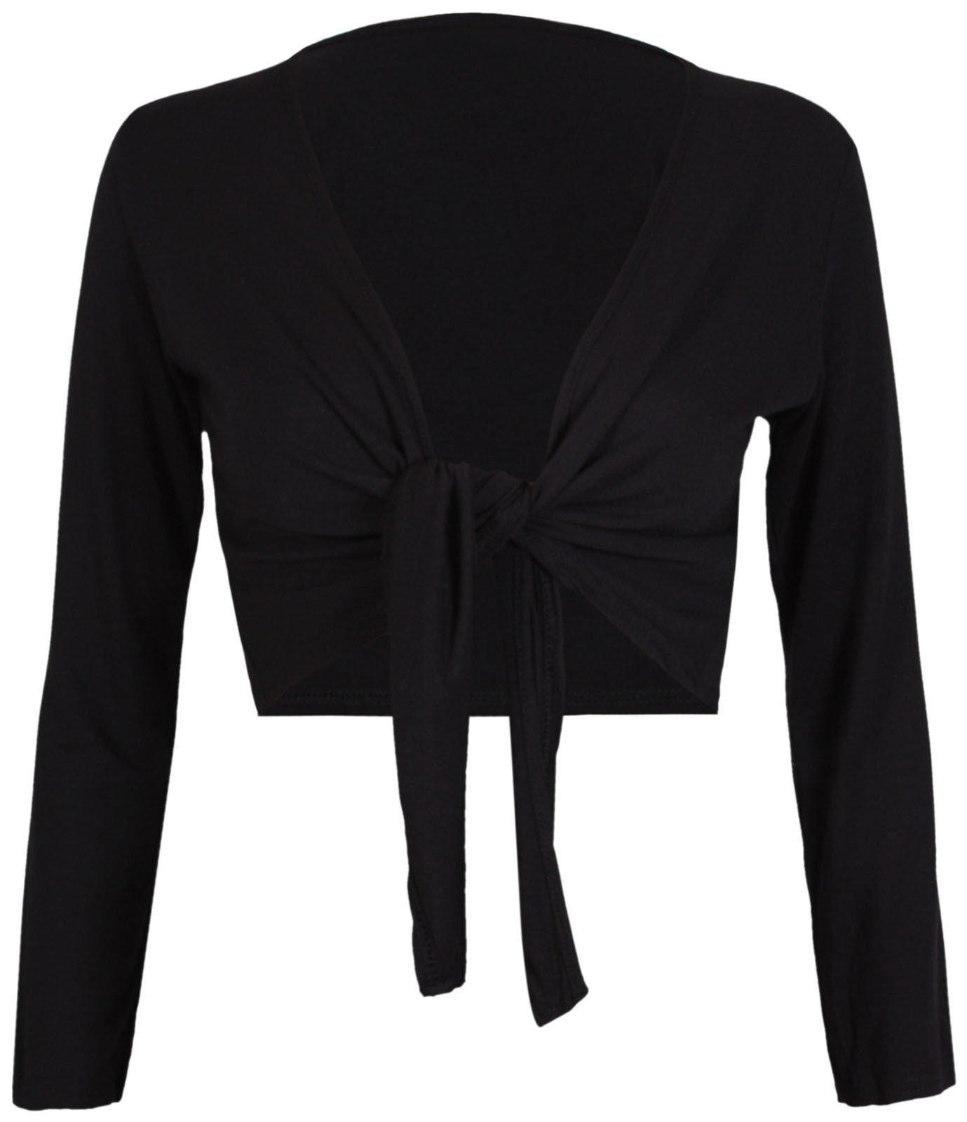 Tie Knot Up shrug Front Cropped Bolero Shrugs Cardigan Wrap Women's Ladies Long Full Sleeve Open Top BLACK-L/XL