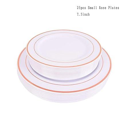 Platos desechables de plástico de oro rosa, 25 unidades, 1 ...