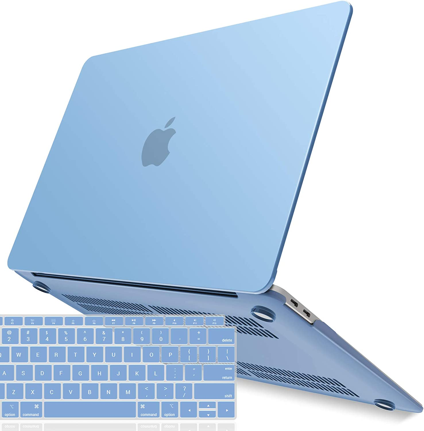 IBENZER MacBook Air 13 Inch Case 2020 2019 2018 New Version A2179 A1932, Hard Shell Case with Keyboard Cover for Apple Mac Air 13 Retina with Touch ID, Airy Blue, MMA-T13ARBL+1