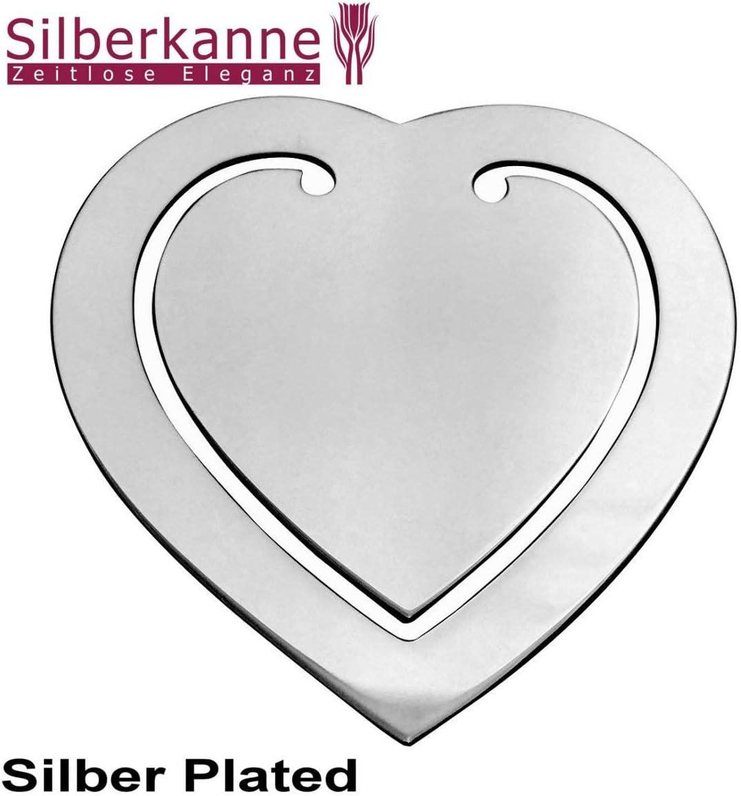 6,5 x 5,5 cm Silberkanne Marcap/áginas con Forma de coraz/ón Plateado