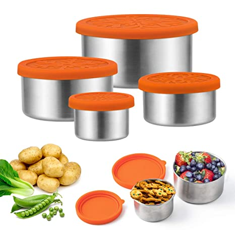 7d33127c208f 4pcs Stainless Steel Snack Containers Lunch Boxes with Leak-proof Silicone  Lid for Travel Outdoor Food Storage, Stackable Reusable BPA Free for Baby  ...
