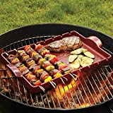 "Emile Henry Made In France Flame BBQ Kabob Grilling Stone and Skewers, 16.5 x 9.8"", Burgundy"