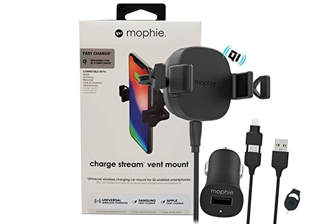 big sale b205a c9cc5 Amazon.com: Official mophie Qi Wireless Car Vent Mount with Fast 24v ...