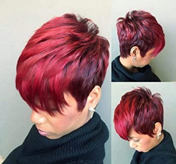 Amazon Com Beisd Short Pixie Cuts Hair Wigs For Women Girls Short Wigs Heat Resistant Synthetic Wigs For Black Women 1011 Red Beauty