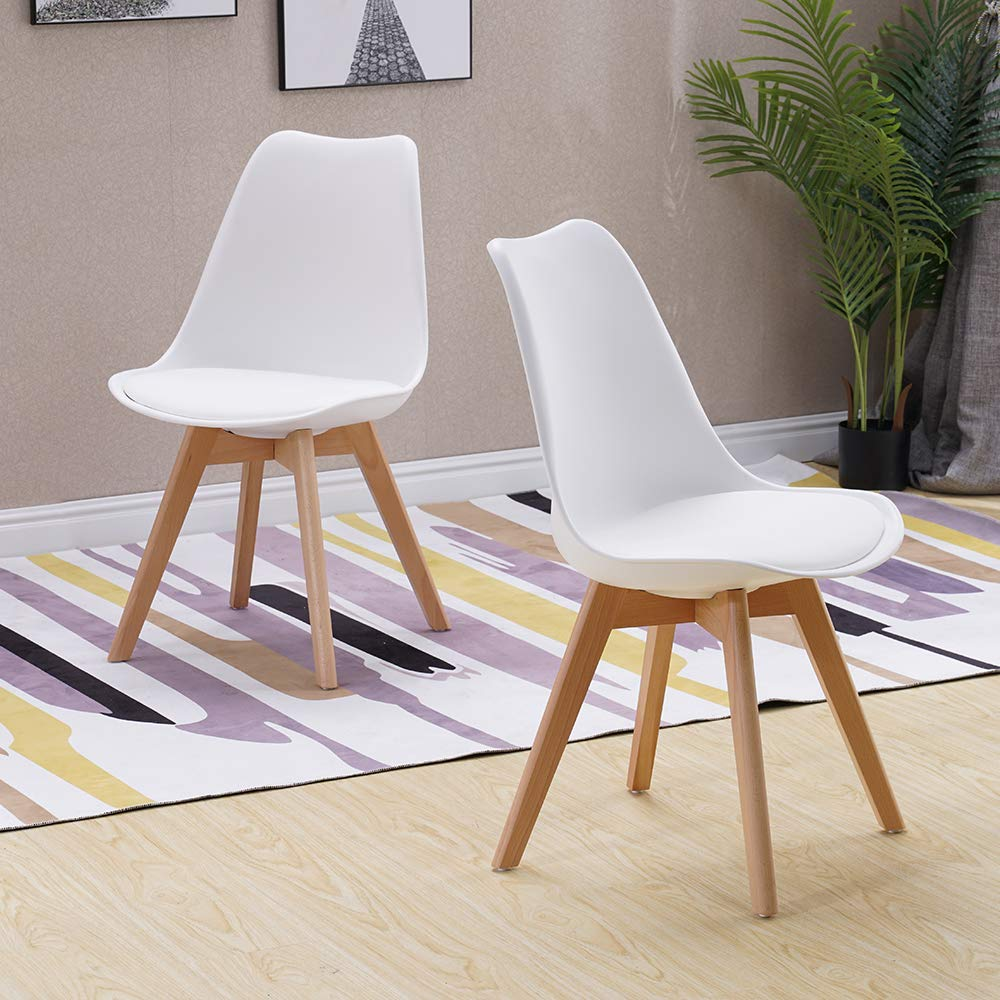 Pleasing Homjoy Modern Design Dining Chair Retro Lounge Chairs Premuim Plastic Wood And Pu Leather Lorenzo Tulip Chair White 2 Caraccident5 Cool Chair Designs And Ideas Caraccident5Info