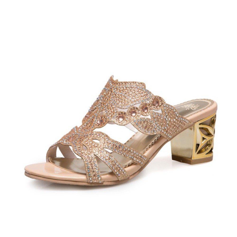 Damen High Heels Plateau Pantoletten mit Blumen Stiletto Sandalen Slipper Mules High Heels  43 EU Gold