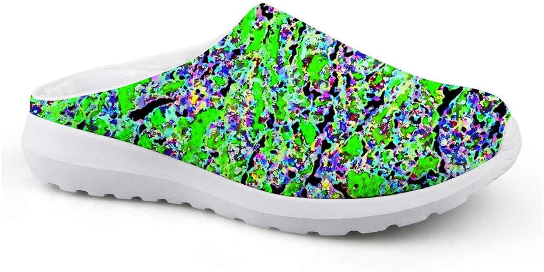 Pantuflas para mujer Gopumchy, transpirables, de malla, verdes, virus, verano, planas, suela plana, zapatos de jardín, zapatos de ocio, playa, zapatillas de baño con suela suave antideslizante, color, talla 36 EU: Amazon.es: