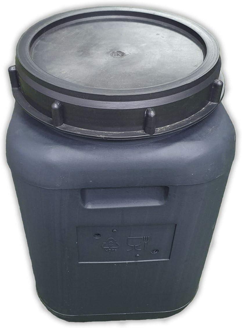 Jardin202 - Bidón de plástico con Boca Ancha Gris de 30 litros