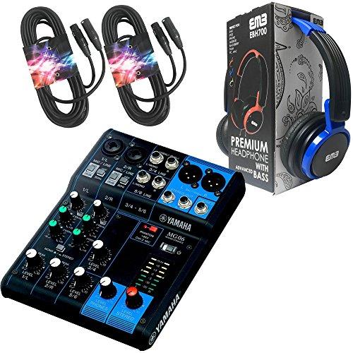800 Watt Professional Premium Pa (Yamaha Package Bundle - Yamaha MG06 6-Channel Mixer + EMB EBH700 Pro Preminum Wire Headphone + 2 XLR XLarge Cables)