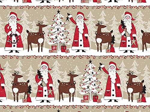 Woodland Santa Claus Reindeer Kraft Christmas Gift Wrap Paper - 16ft Roll