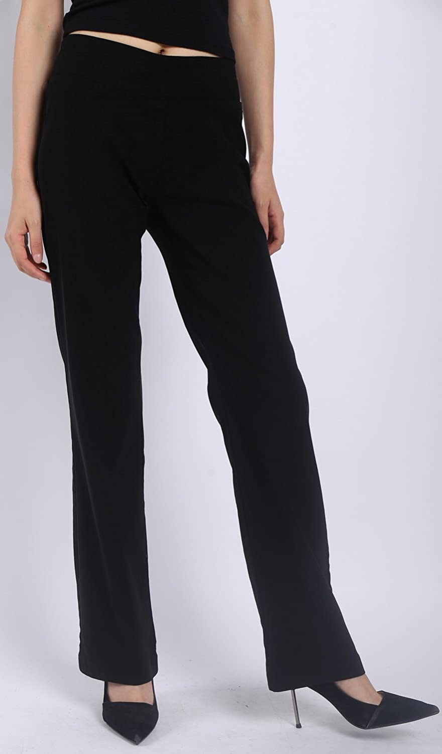 e959754f2d4 Foucome Women Trousers-Slim or Bootcut Stretch High Waist Pants with All  Day Comfort Pull On Casual Full Elasticated Waist Bottoms Plus Sizes Black   ...