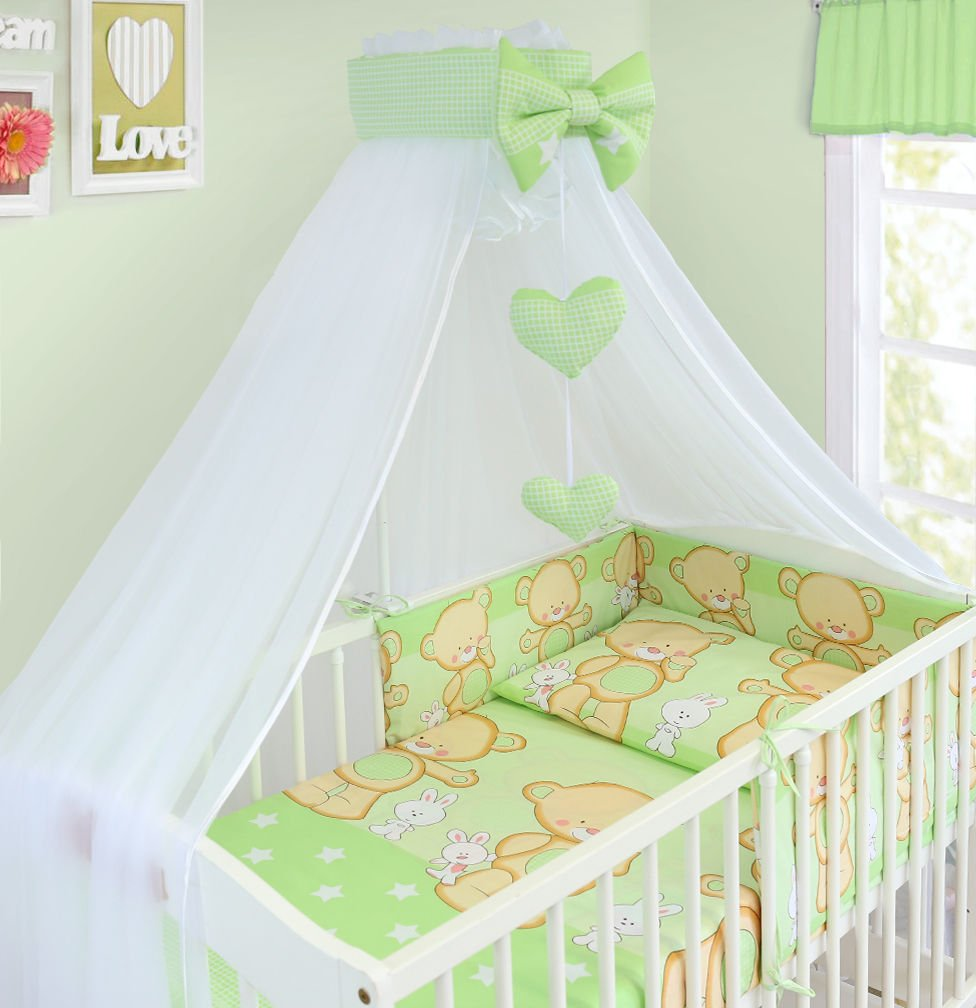BABY CANOPY DRAPE MOSQUITO NET WITH HOLDER TO FIT COT & COT BED (DOTS GREY) Babymam