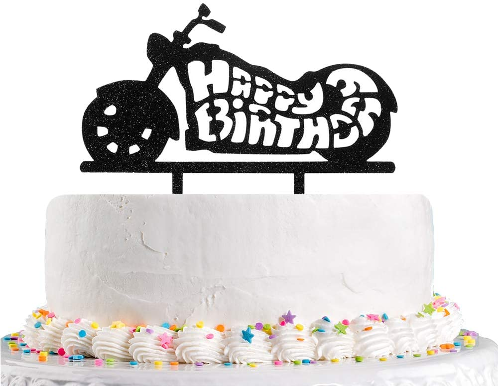 Amazon Com Happy Birthday Cake Topper With Motorcycle Black Glitter Happy 1st 2nd 3rd 4th 5th 10th Children S Birthday Party Decoration Supplies Acrylic Toys Games