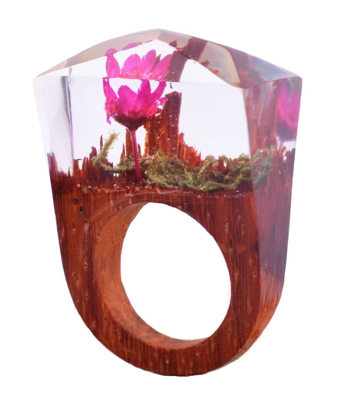 Handmade Wood Resin Ring With Rose Flower Landscape Inside Jewelry