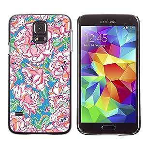 Paccase / SLIM PC / Aliminium Casa Carcasa Funda Case Cover - Watercolor Spring Pattern Art - Samsung Galaxy S5 SM-G900