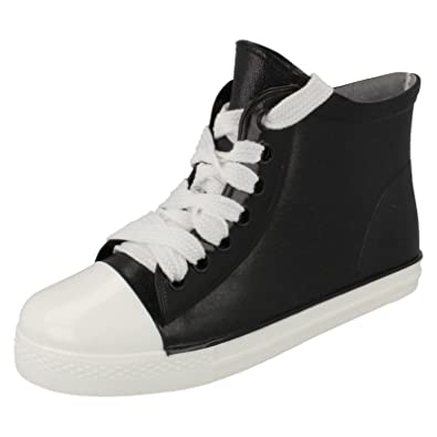 New Womens Casual Pump Trainers Ladies Black Baseball Lace Up Shoes Size 2-7