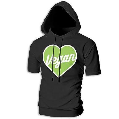 5b54cbfdf3bc Amazon.com  FiftyJoy1 Mens Vegan Heart Sports Short Hooded Sweatshirt  Graphic Fitness Pullover Tee  Clothing